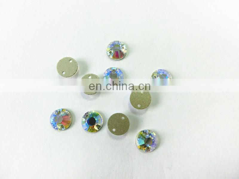 Wholesale Round factory direct sale sew on flatback crystals stone for clothing