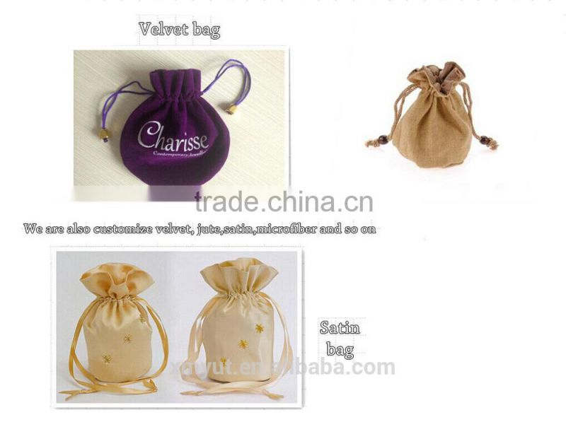 custom suede drawstring bag/suede jewelry pouch