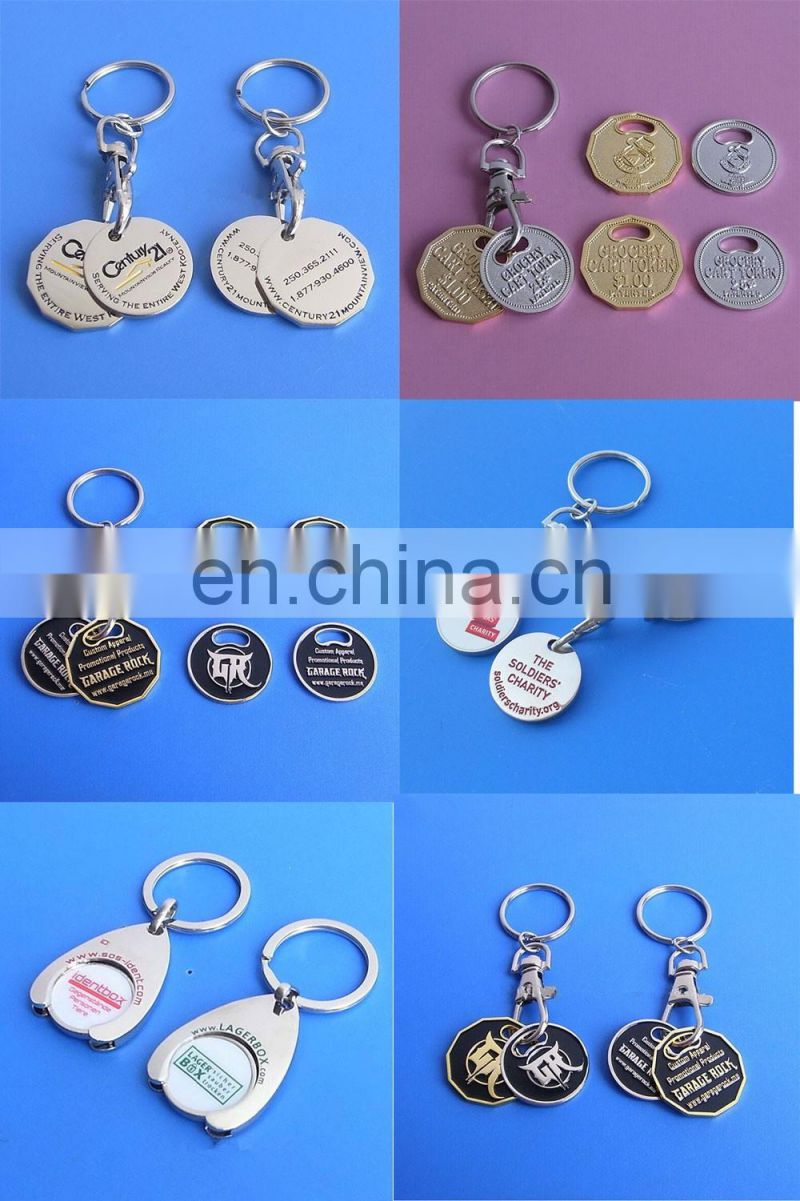 custom logo shopping cart token coin keyring UK trolley coin key holder keychain