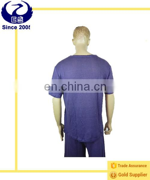 Men's summer anti-odor hemp and silk polo-shirt