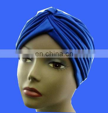 Hot sell arbric scarf turban hat with feather Head Turban Wrap Polyester Turban Hat Head Cover Sun Cap
