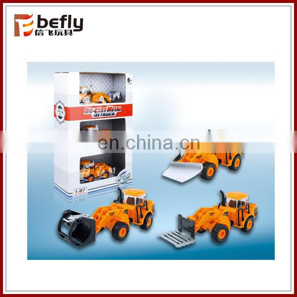 Children construction pull back metal car