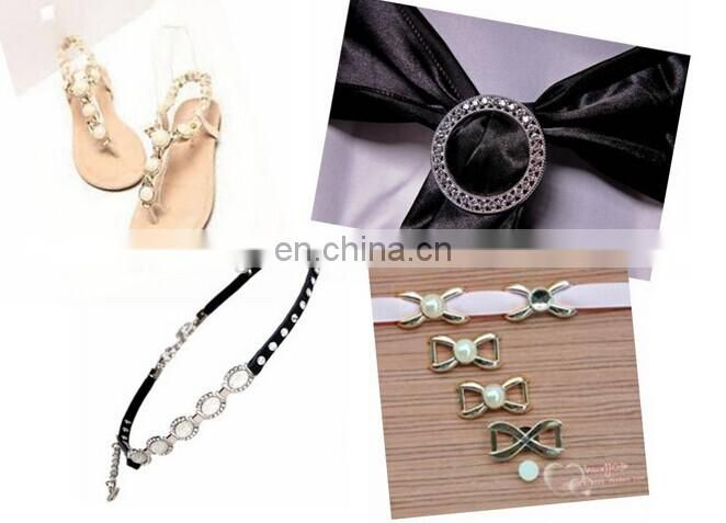Bailange wholesale pearls & rhinestone buckle fashional ribbon belt with metal buckle
