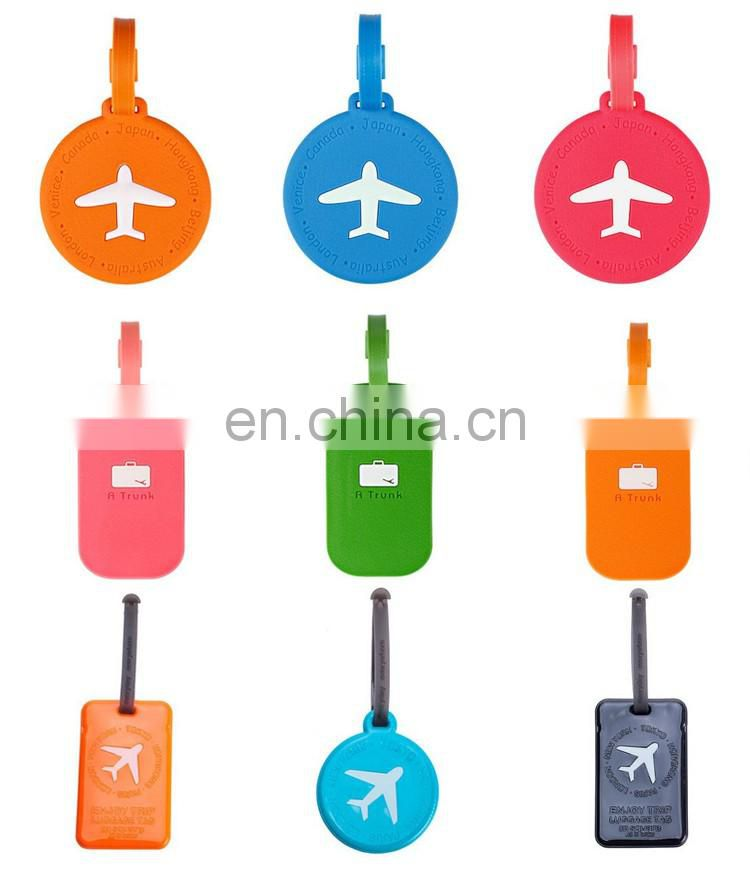 Bright colored airplane travel luggage tag