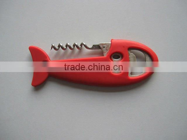 fish shape silicone bottle opener with stainless steel