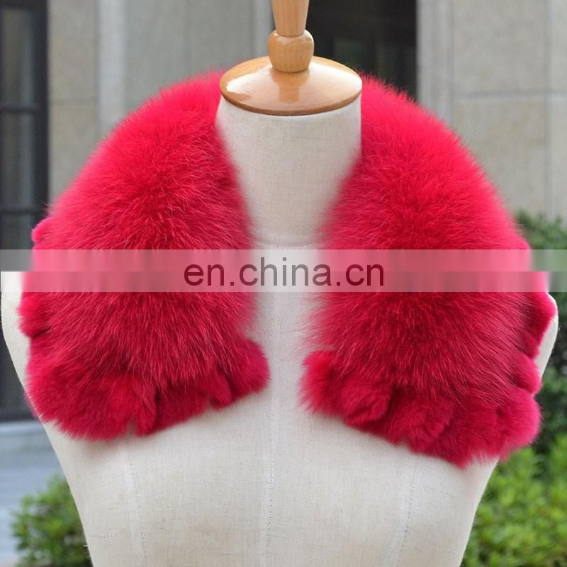 Wholesale new arrival fox fur collar with mink fur for lady garment decoration