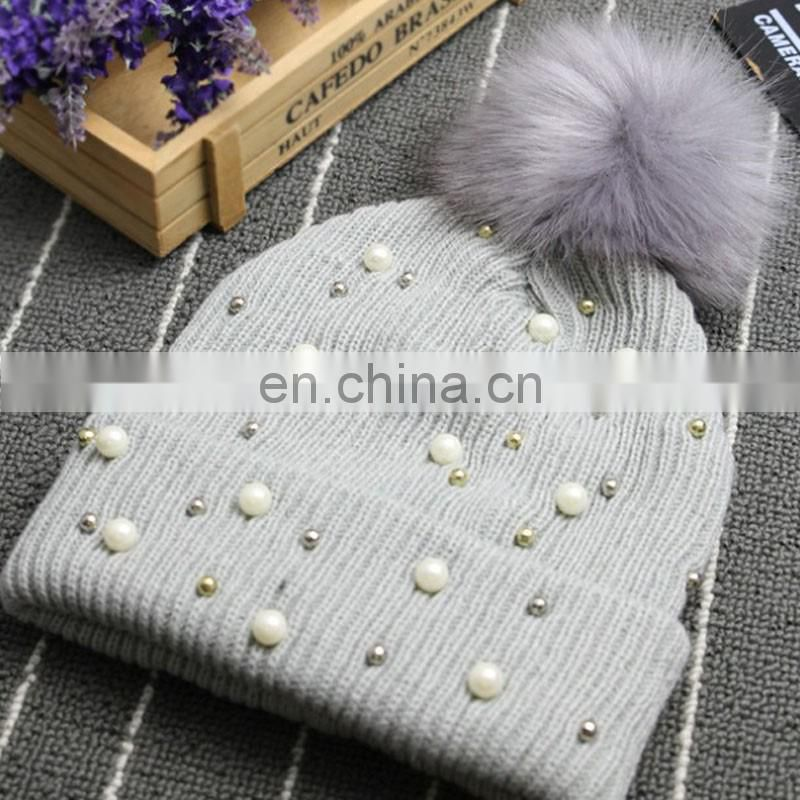 Winter pearls fur pom pom bobble hats high quality knitted hats wholesale