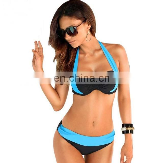 2017 New Sexy Bikinis Women Swimsuit High Waisted Bathing Suits Swim Halter Push Up Bikini Set Plus Size Swimwear 4XL
