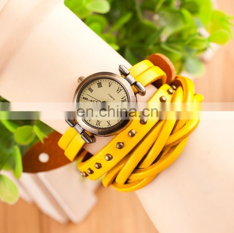 Hot selling Fashion style New products Charm lady Vintage style Wrist Leather band geneva promotional gift Watch very fashion
