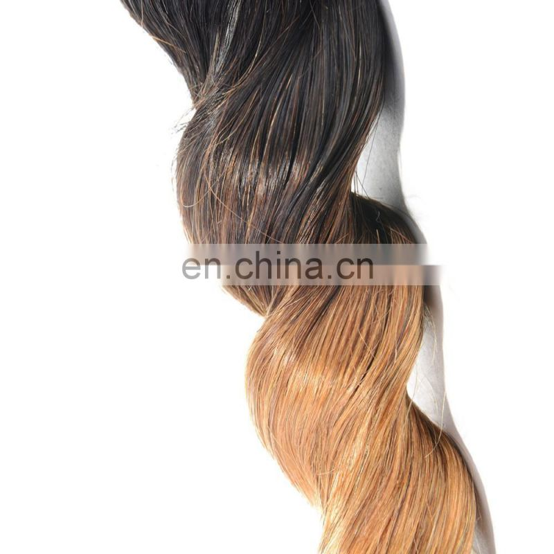 hot sell T1B/27 ombre color human hair extension loose wave remy weave 10-26 inch avaliable in stock