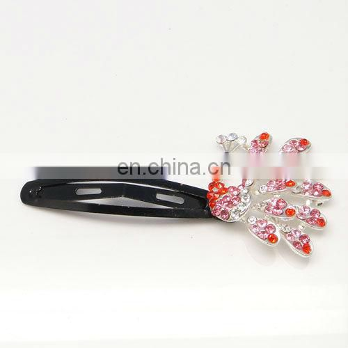 Latest peacock rhinestone crystal hair snap clip accessories
