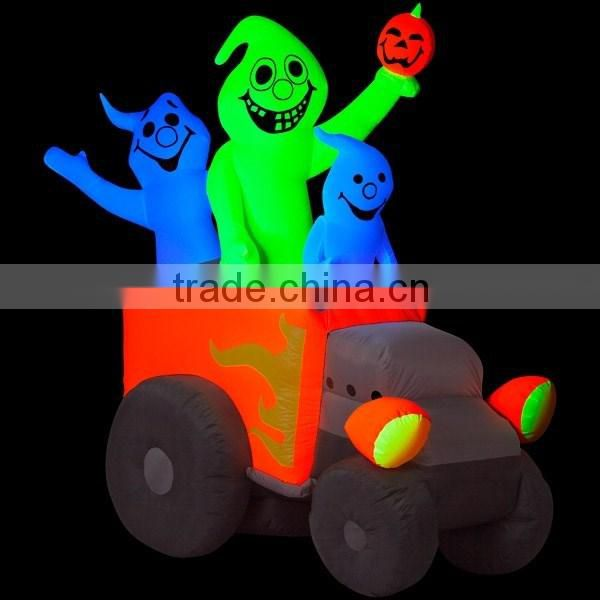 6'H x 5'W Airblown Halloween Inflatable Neon Hot Rod Ghosts, Includes Blacklight Spotlight