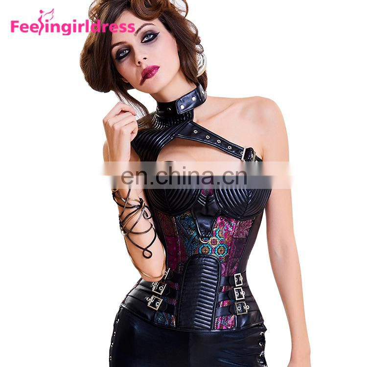 New Design One Shoulder Halloween Wear Tight Lacing Victorian Corset