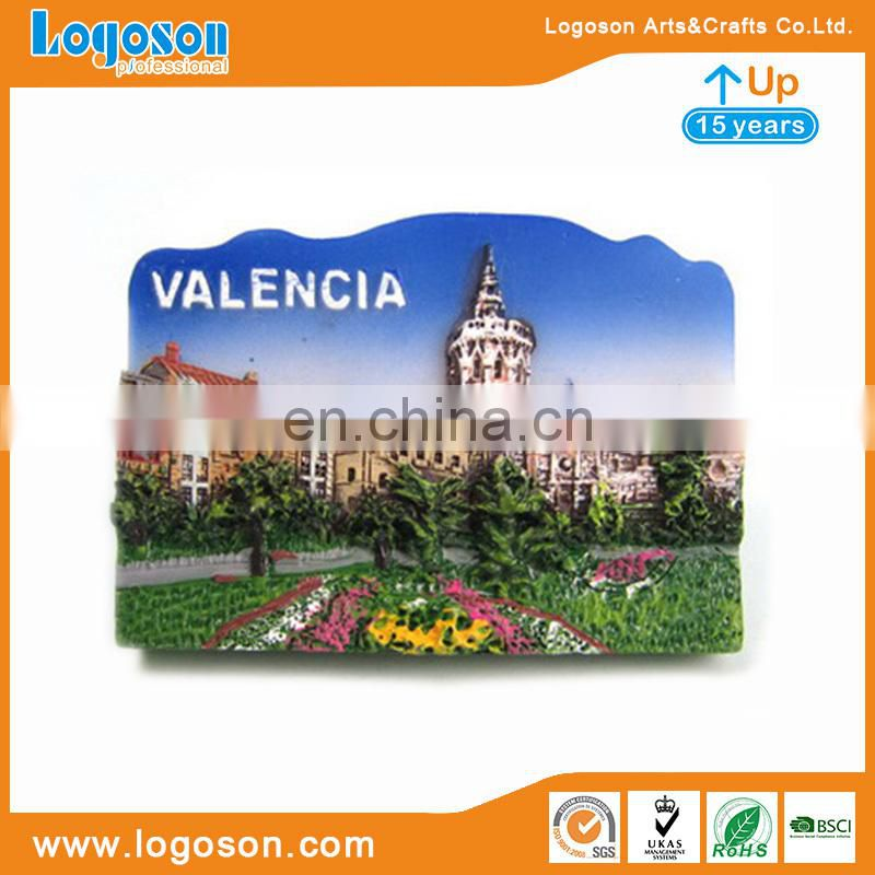 High quanlity Valencia Spain souvenir resin magnets city scenery design polyresin magnets