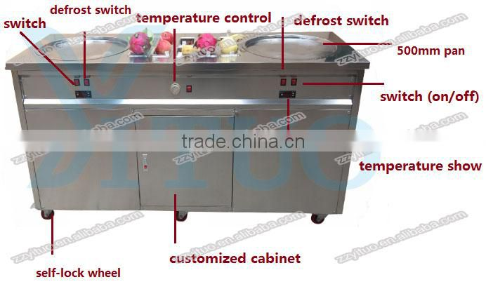 Double Pan Fried Ice Cream Machine / Ice Pan Ice Cream / Ice Cream Cold Plate