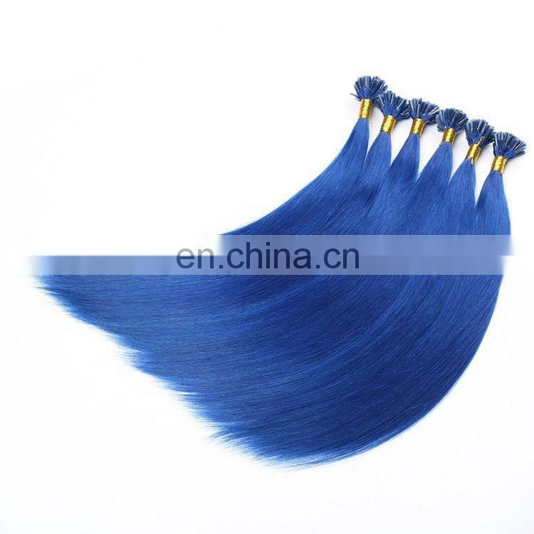 Wholesale Blue Color 1g U Tip Hair Extension Remy Hair Extension 100% Human Hair