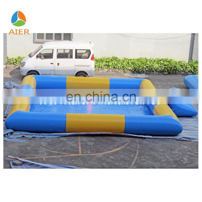 pool blue and orange pvc material inflatable square swimming pool