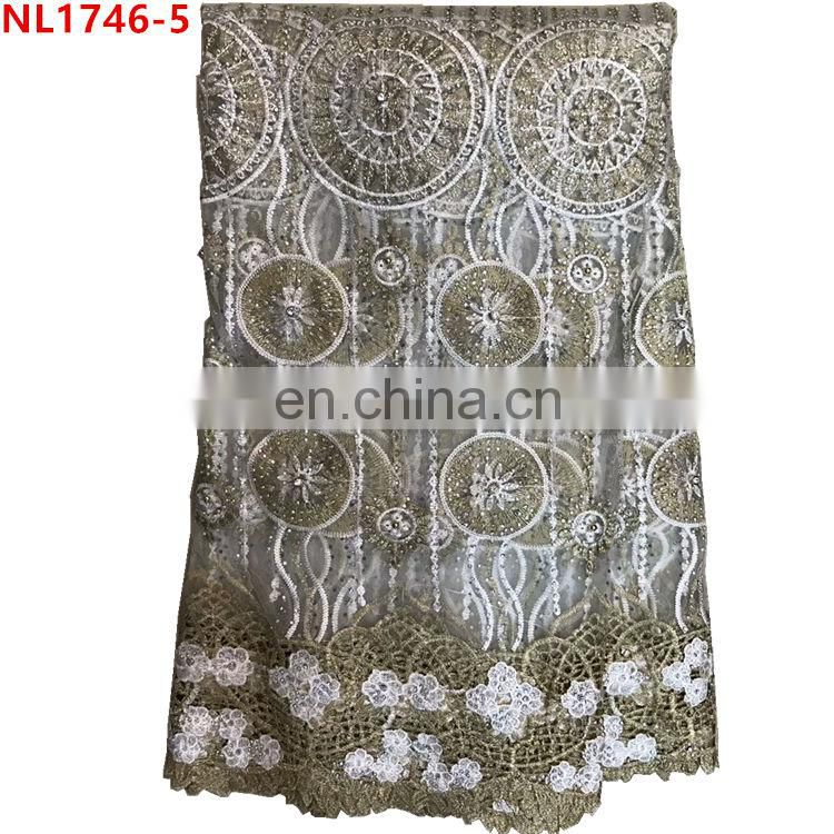 Wholesale beaded sequined lace fabric 3D Net lace fabric with rhinestone party evening lace fabric Image