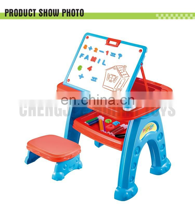 Muitifunction drawing table set plastic projector desk learning easel for kid