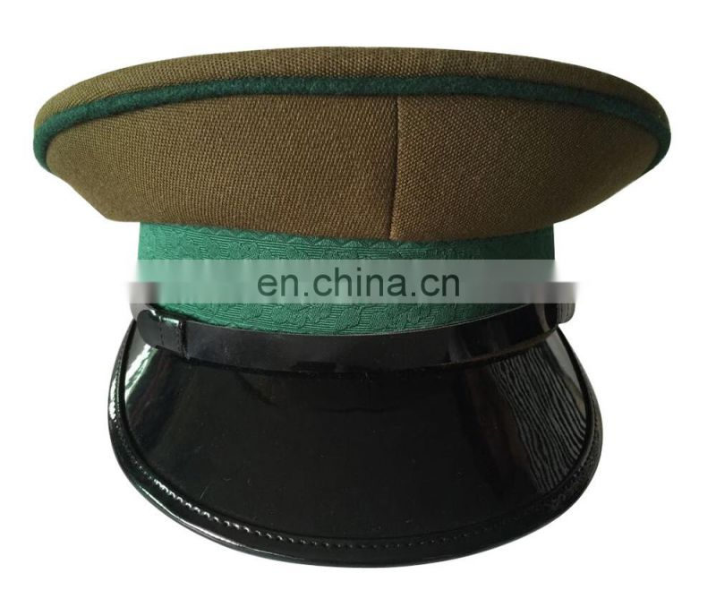 green narrow ribbon cap band and green TR crown peak cap for officers