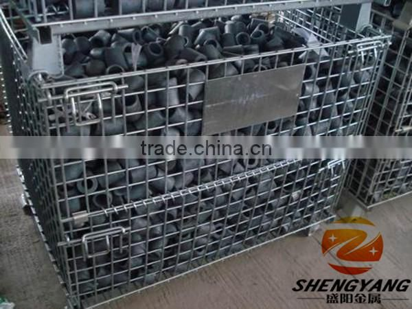 Portable assembled mesh boxes containers saving space collapsible containers industrial applied metal foldable cage pallets