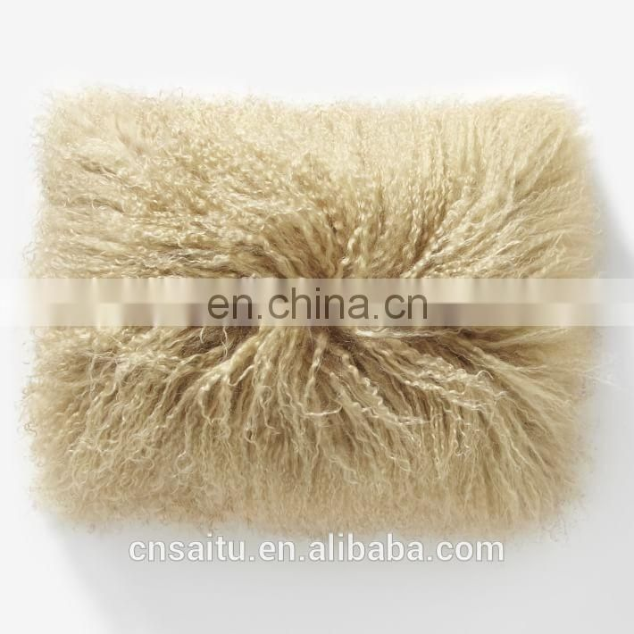100% Real Mongolian Lamb Wool Fur Cushion Cover Decorative Throw Pillow Case