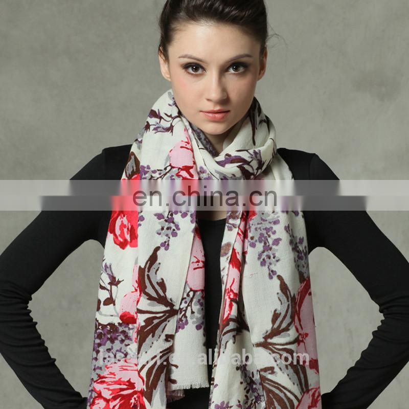 colorful flower Australia pure wool scarf