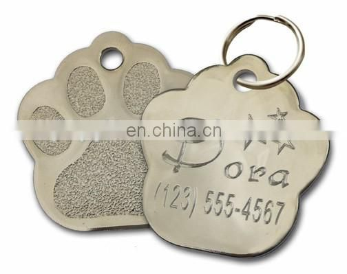 Aluminum pet tags with paw shaped design