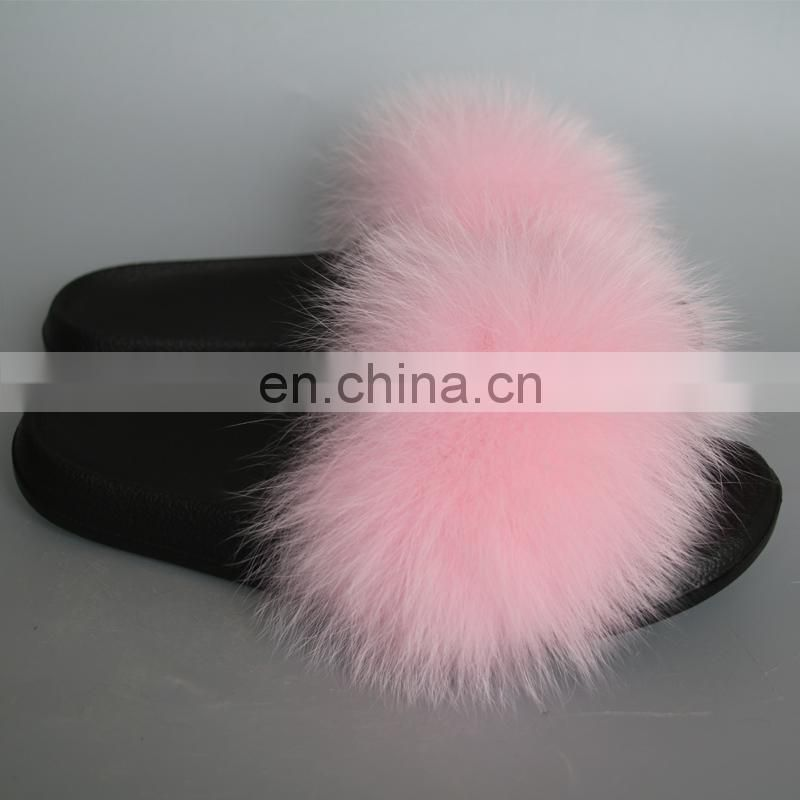 Real fox fur slipper fur fashion lady summer slipper handmade popular style