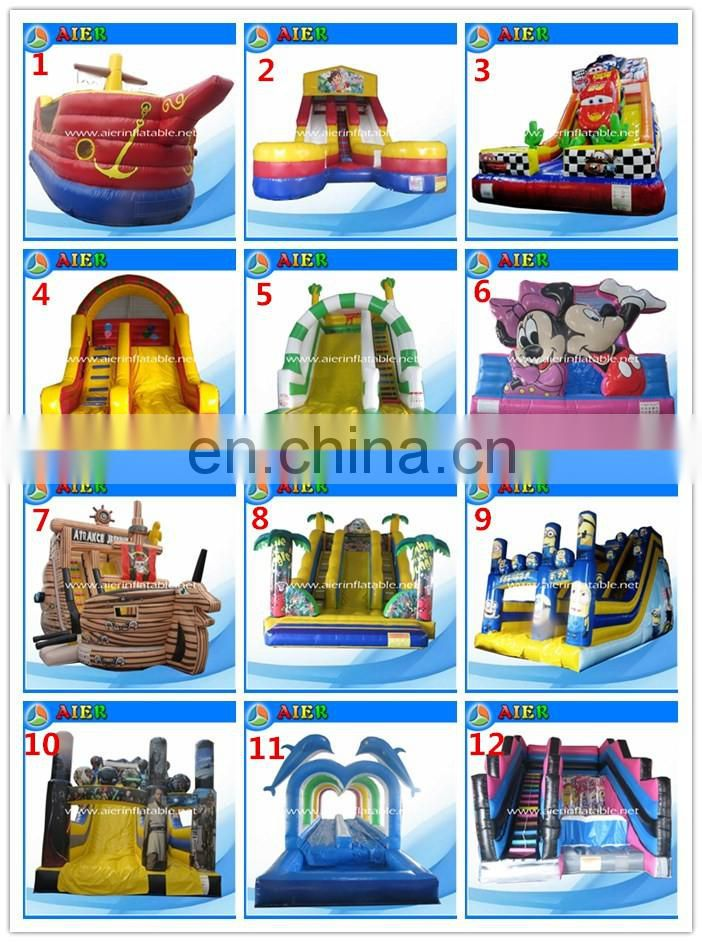 2017 Aier 0.5mm PVC tarpaulin good quality smurfs inflatable slide obstacles/ inflatable obstacle slides