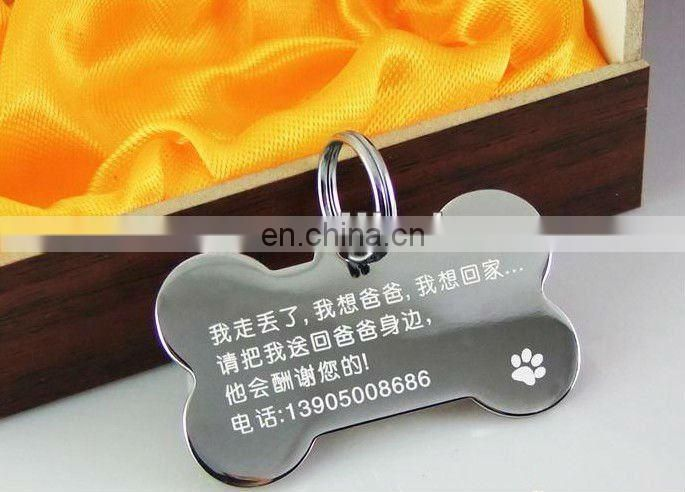fashion bone shape metal blank zinc alloy dog tag