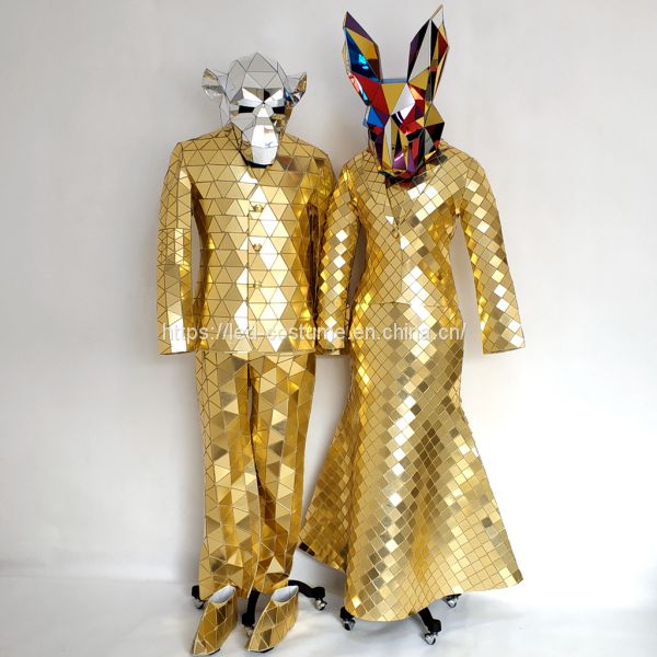 Golden Silver Colorful Disco Ball Mirror Man Dress Suit Costume for Stage Performance Image