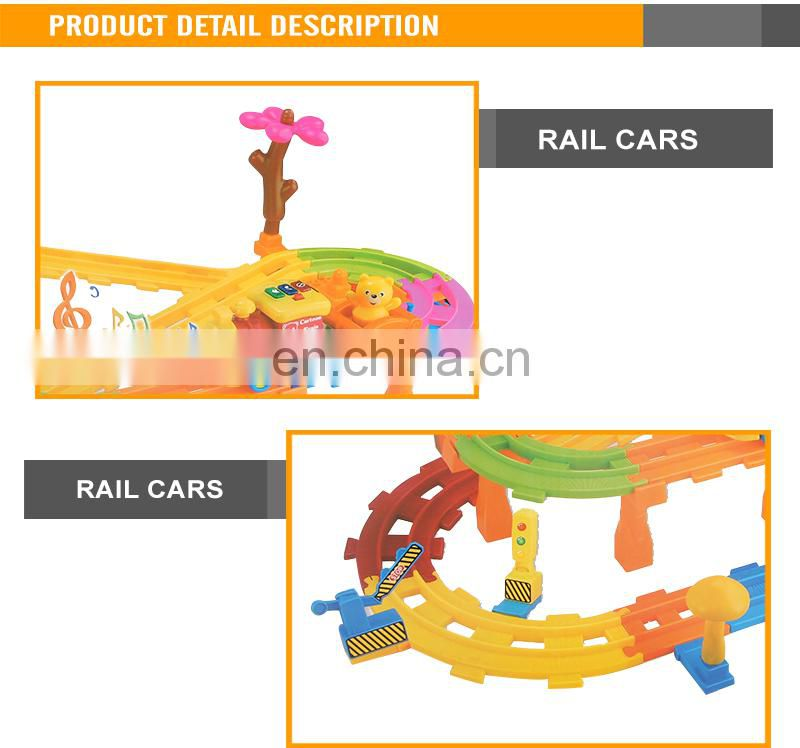 Most Popular Cartoon Car B/O Railway with light and music toy slot car