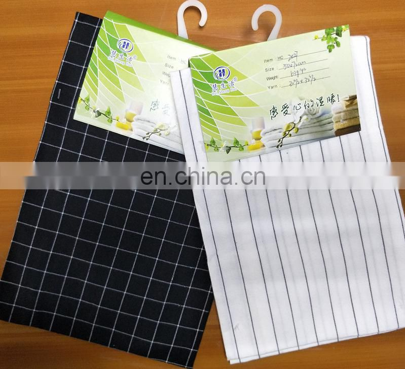 black and white stripe cotton kitchen tea towel set made in China