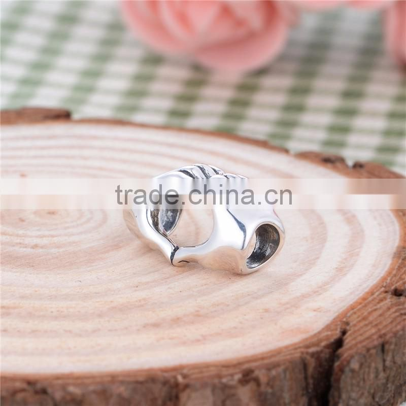 T074 Rhodium-plated 925 Sterling Silver Bali Wedding Charms Hands Love you Heart Charm Type