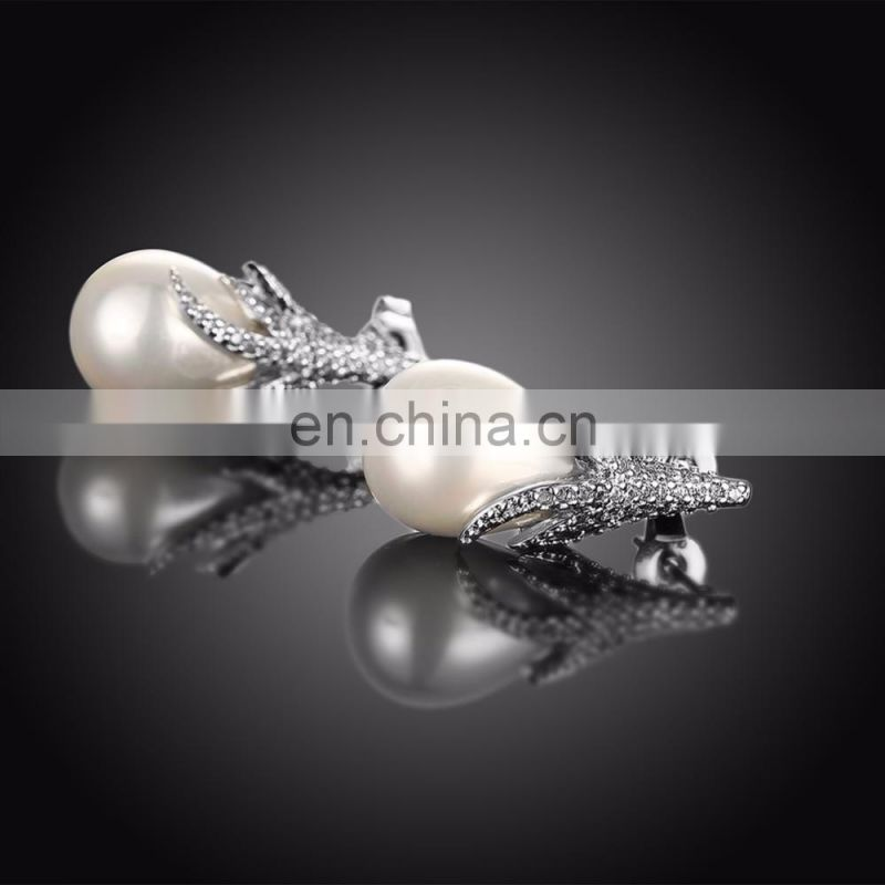 2017 Hot Selling Platinum Plating Zircon& Beads Women Earrings Brincos