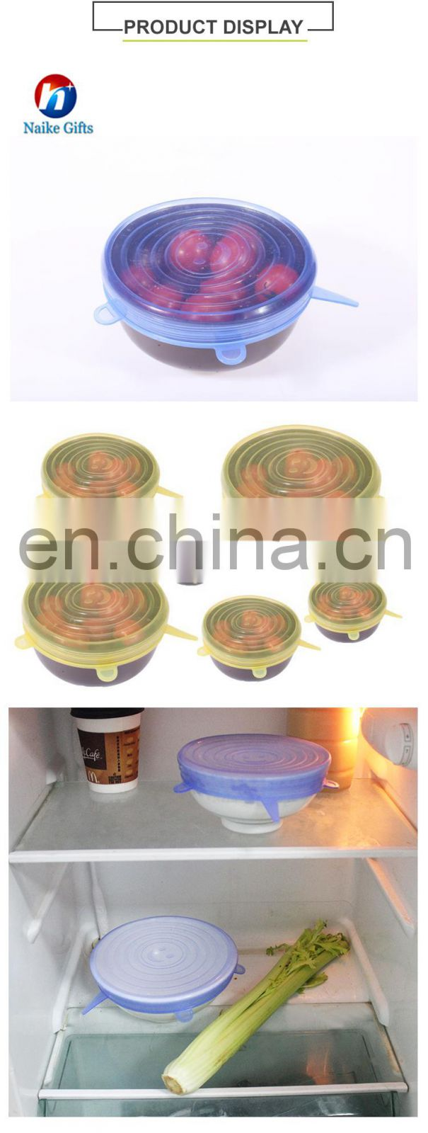 Silicone Lid Stretch Lids Keep Food Fresh 6-Pack of Various Sizes