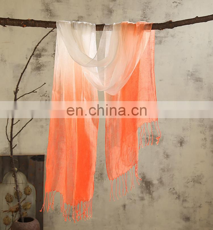 linen100% scarf fresh comfortable natural scarf good quality spacedye scarf have 6 color