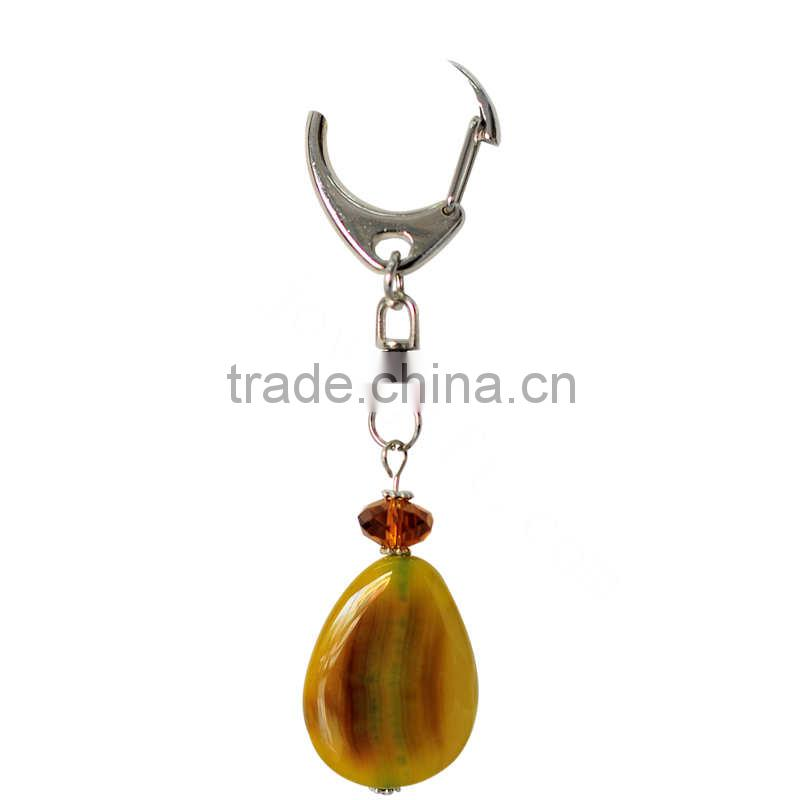 2014 New Style 16*21mm Green Olive Agate Beads Keychain