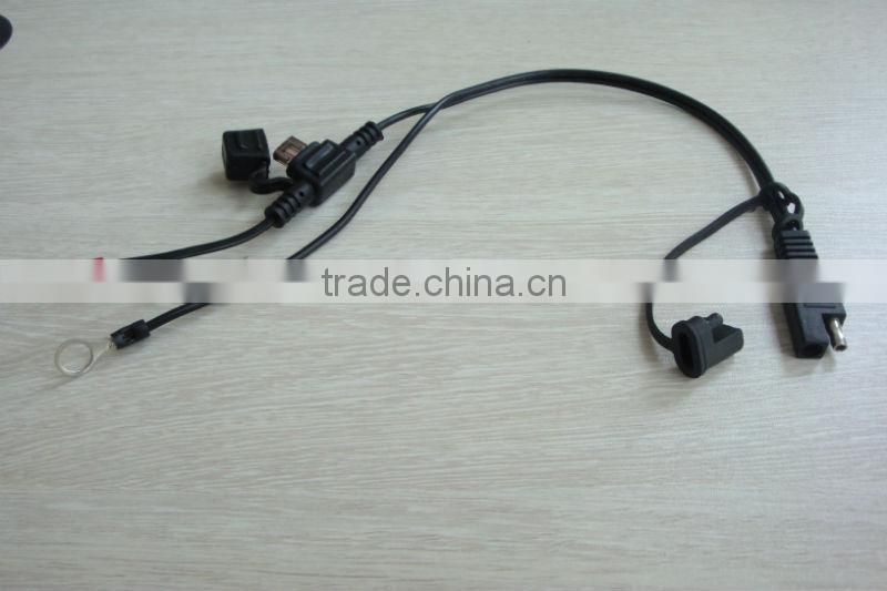 Battery Ternder SAE connector cable with in-line fuse and ring connectors for motorcycle/Car/ATV/Boat battery