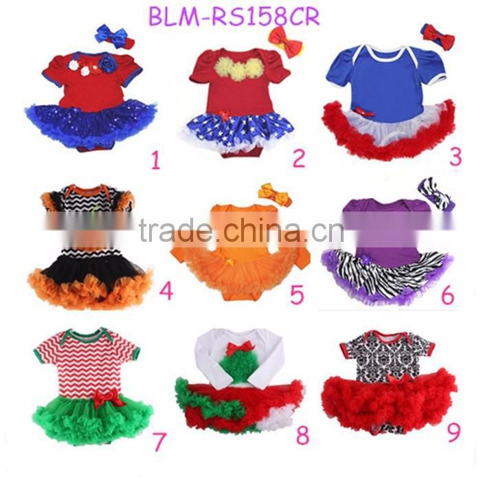 Wholesale girls pettiskirt kid skirt and top Quality dresses red infant baby chiffon tutu skirt children's sets
