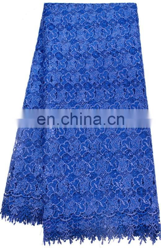 Royal blue heavy african corded lace fabric