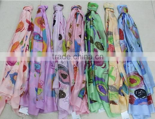 In Stock Mixed Color Popular Polyester Printed Scarf