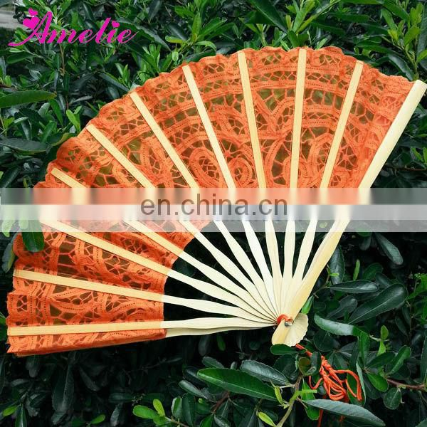 Orange Battenburg Lace Fan