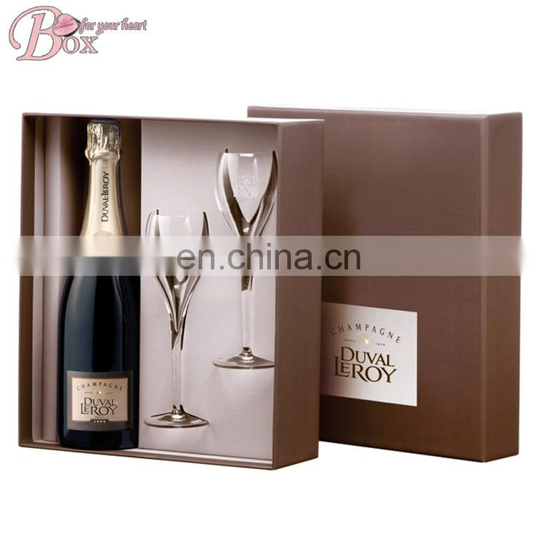 Custom Wine Box Luxury Gift Box for Wholesale Champagne and Glasses