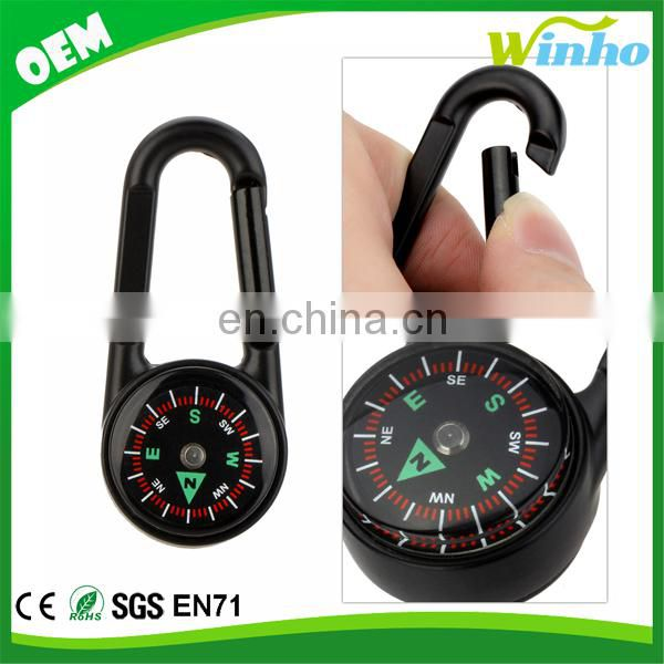 Winho Multifunctional Carabiner Mini Compass Thermometer Keychain 3 In 1 For Hiking