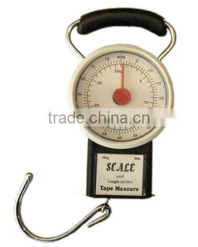 Mechanical portable hanging hook luggage spring scale with tape measure