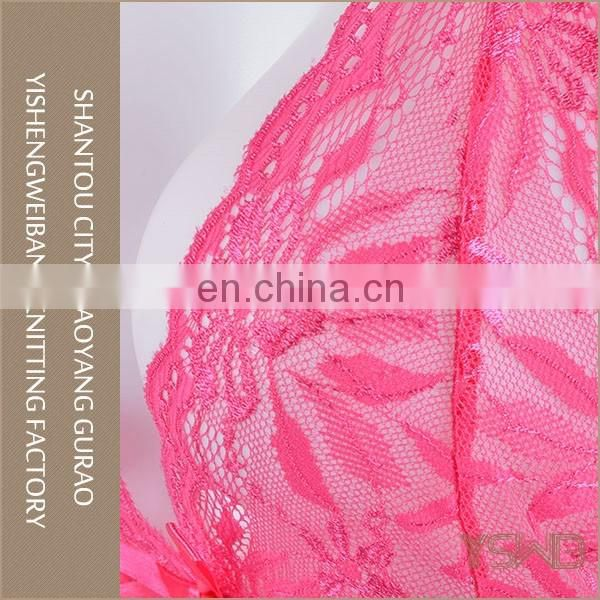 Hot selling lace decorative thin pink sexy designer lingerie in bulk