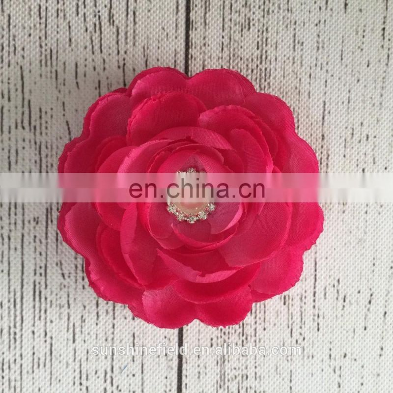 "4"" Layered Satin Flowers Without Hair Clips DIY Crafting Handmade Flowers Matching Pretty Bead"