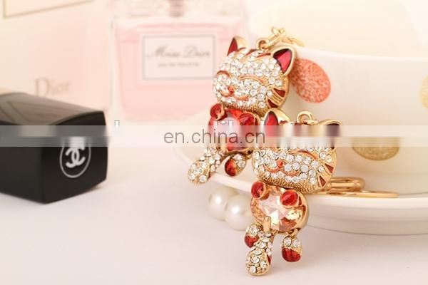HOTEST PROMOTIONAL DELICATE GIFT CRYSTAL SMILEY DIAMOND CAT KEYCHAIN
